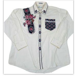 90s Patchwork Floral Lace Button Front Shirt